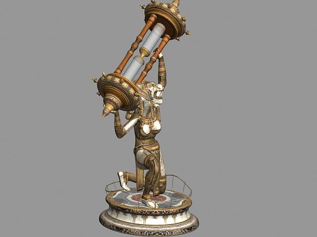 Sculpture of lion lady 3d rendering