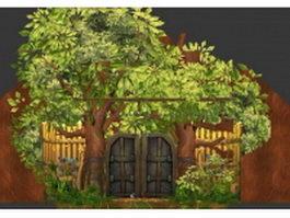 Wood fairy door 3d model preview