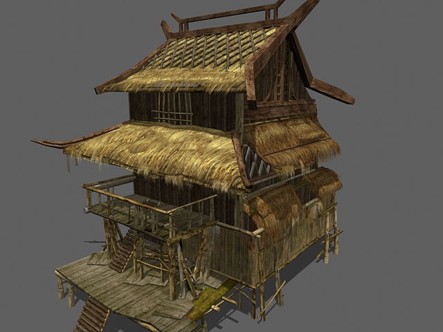 Thatched house 3d rendering