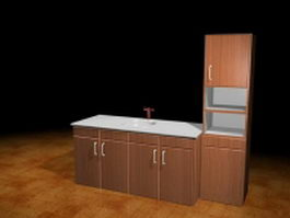 Sink cabinets for kitchen 3d model preview
