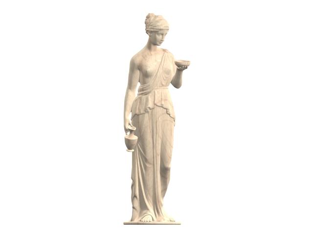 Marble statue of Hebe 3d rendering