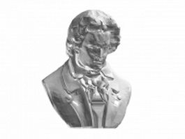 Statue of Beethoven bust 3d preview
