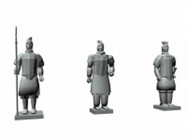 Chinese warriors sculpture 3d preview