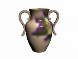 Ceramic vase with handles 3d model preview