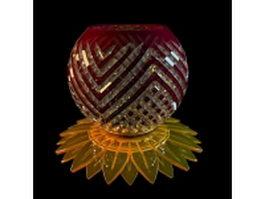 Glazed colored glass vase 3d model preview