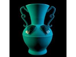 Blue ceramic vase with handles 3d model preview
