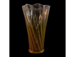 Vintage yellow glass vase 3d model preview