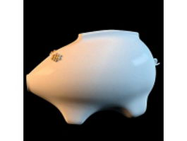 White porcelain pig vase 3d model preview
