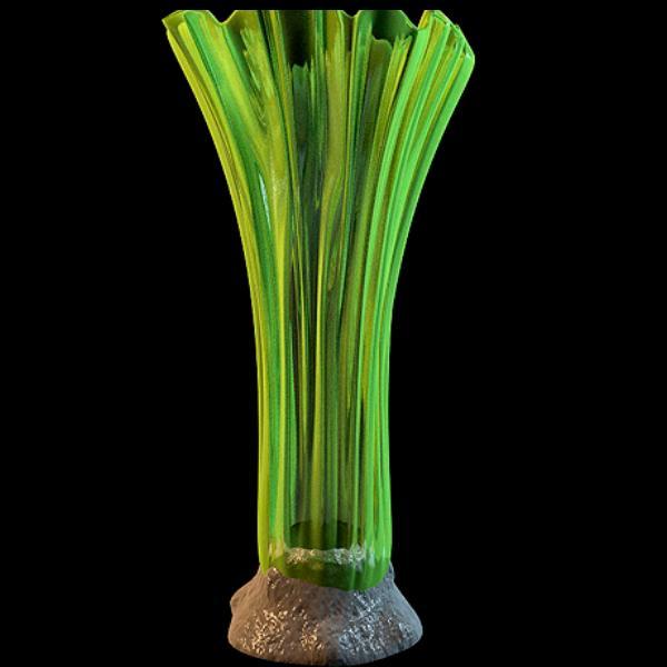 Modern green glass vase 3d rendering