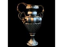 Vintage silver trophy vase 3d model preview