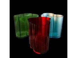 Modern resin flower vase set 3d model preview