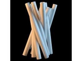 White pipe vase 3d model preview