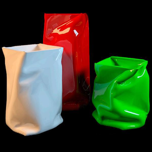Crinkle bag vase 3d rendering