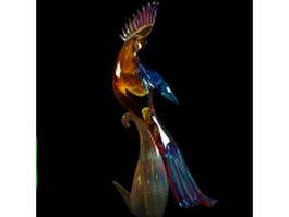 Glazed glass peafowl vase 3d model preview