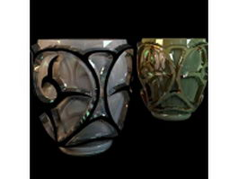 Colored glazing glass vase with texture 3d model preview