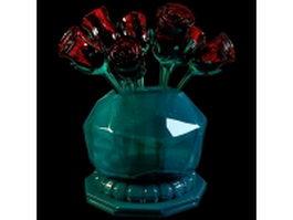 Glass rose vase 3d model preview