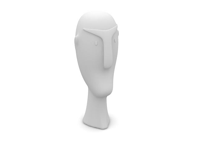 Porcelain sculpture face 3d rendering