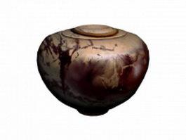 Painted pottery pot 3d model preview
