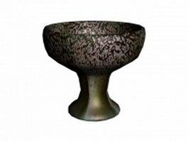 Painted pottery decorative bowl 3d model preview