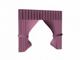 Purple curtain with valance 3d preview