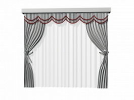 Tie back curtains with sheer and pelmet 3d preview