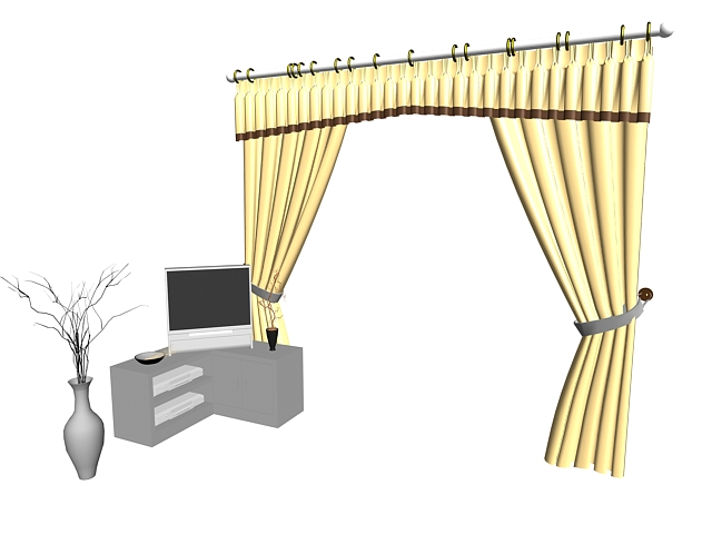 Window curtain with TV stand and vase 3d rendering