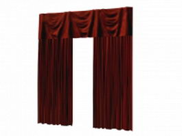 Red curtains and valance set 3d preview