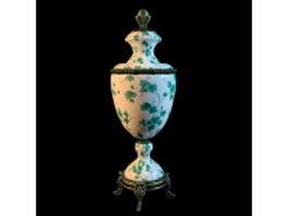 Antique vase hand painted 3d model preview