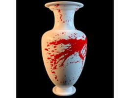 Red painted white vase 3d model preview