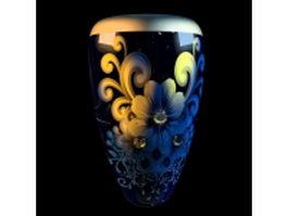 Flower pattern elegant vase 3d model preview