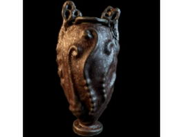 Textured pottery vase 3d model preview