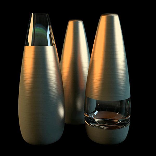 Modern brass glass vase sets 3d rendering