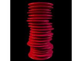Red stack vase 3d model preview