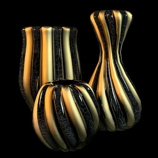 Striped vase sets 3d rendering
