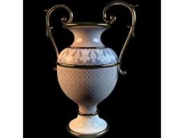 Elegant porcelain trophy vase 3d model preview