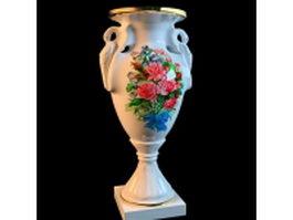 Antique porcelain hand painted vase 3d model preview