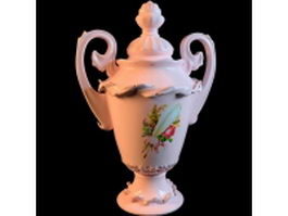 Antique porcelain vase 3d model preview