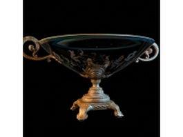 Antique vintage bowl vase 3d model preview