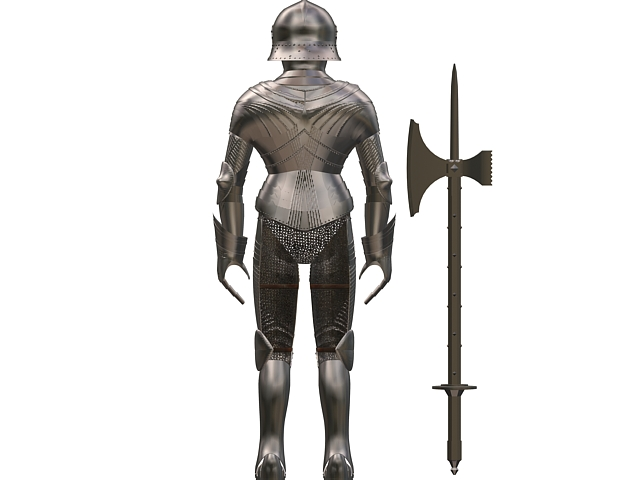 Gothic armour set with axe 3d rendering
