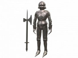 Gothic armour set with axe 3d model preview
