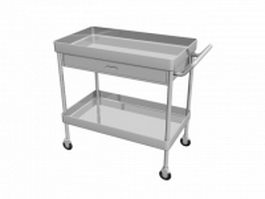 Metal utility cart for hospital 3d preview