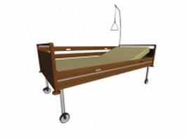Wood hospital bed 3d preview