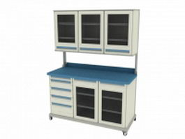 Hospital utility cart 3d preview