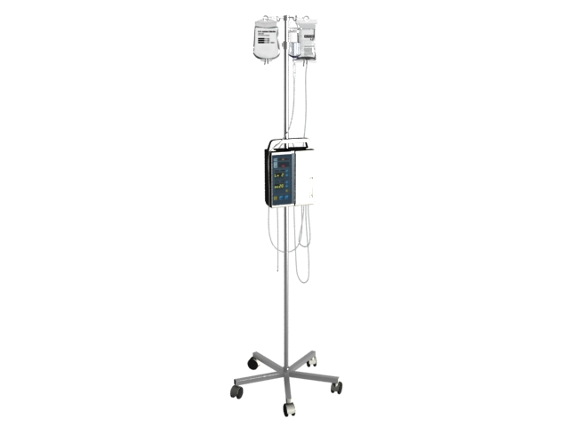 IV drip stand with bag and IV pump 3d rendering