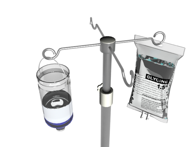 Saline drip hanging on IV drip stand 3d rendering