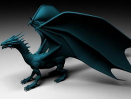 Fiery dragon 3d model preview