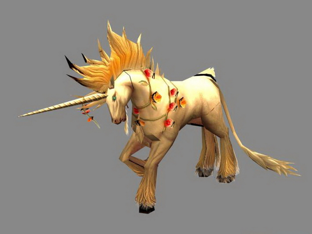 Fictional Unicorn 3d rendering