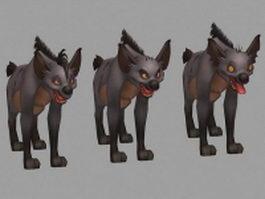Striped hyenas 3d model preview