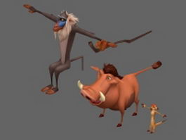 Cartoon animals characters 3d preview