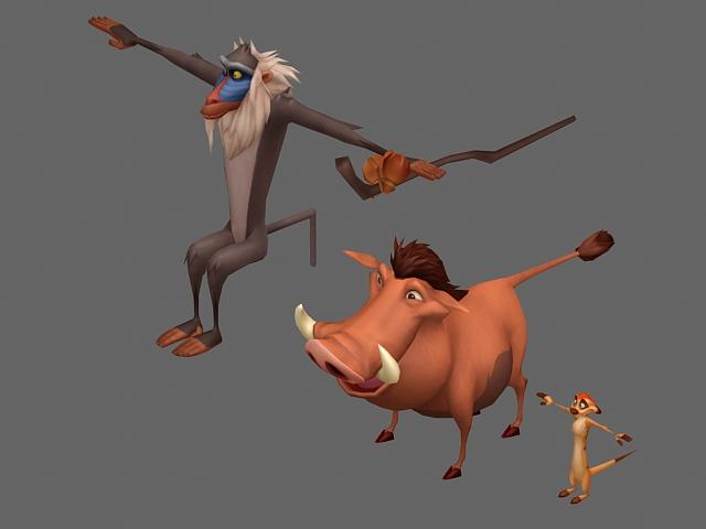 Cartoon animals characters 3d rendering